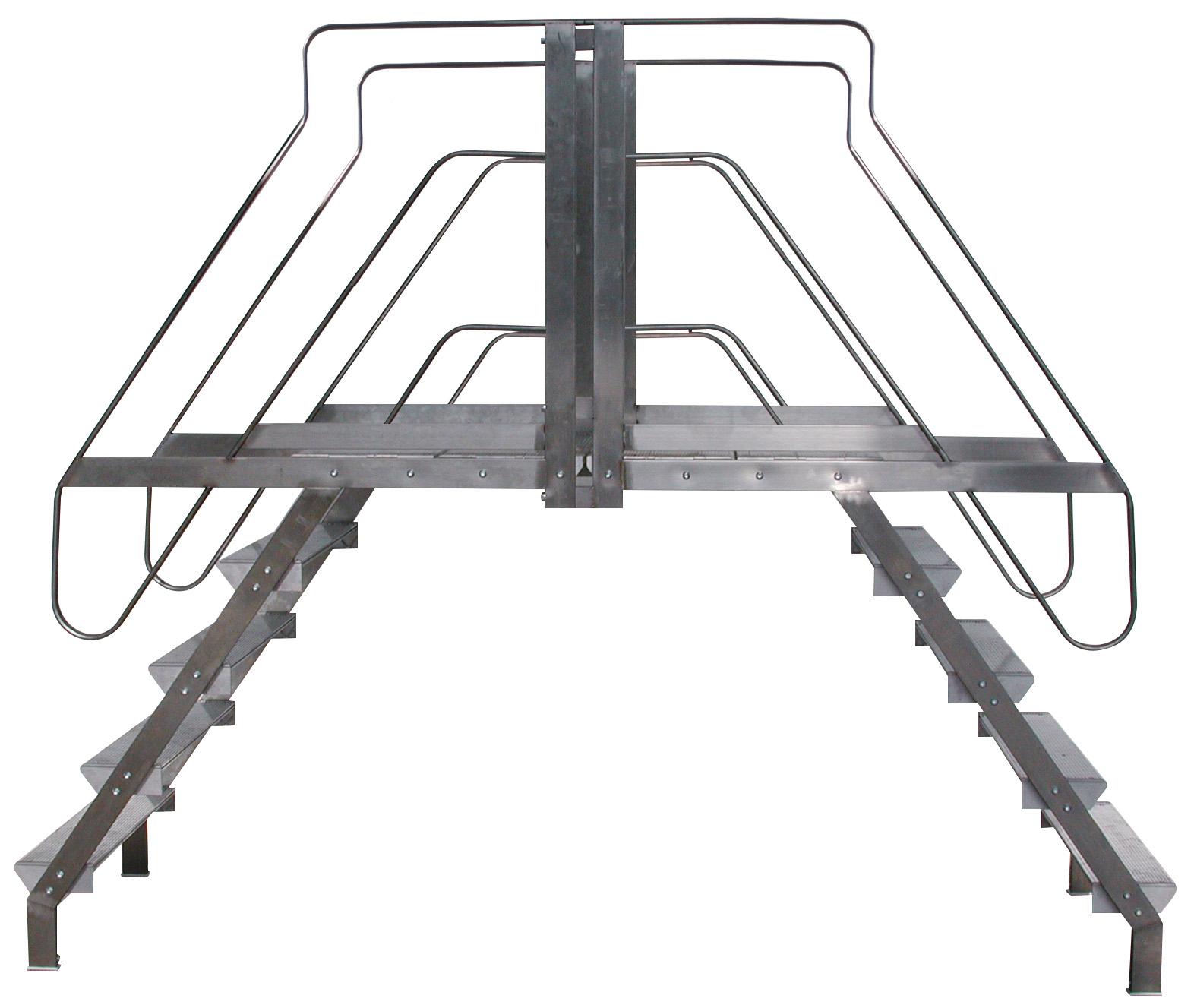 Scala INOX a ponte con parapetto 11+11 gradini